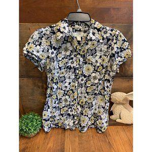 Loft Floral Button Down Short Sleeve Shirt